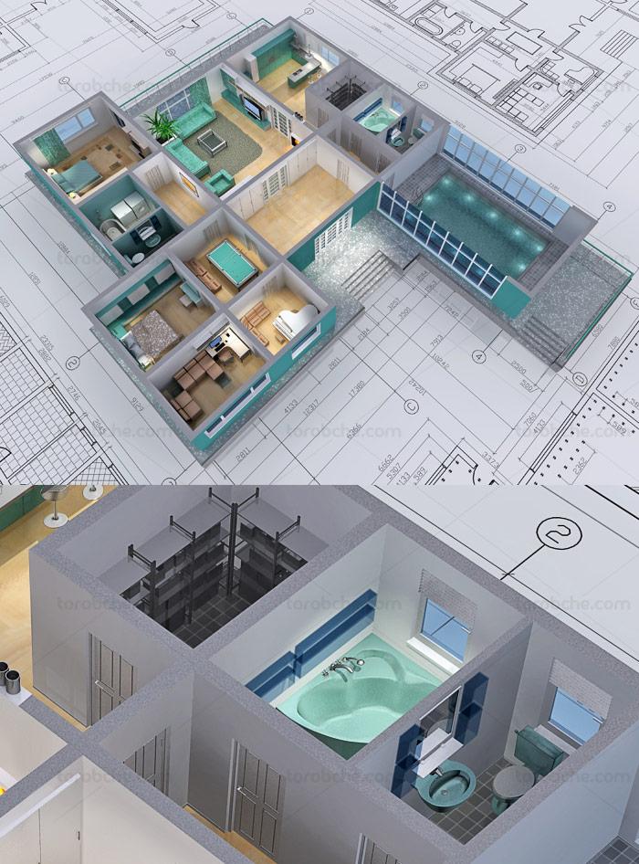عکس با کیفیت نقشه کسی ساختمان سه بعدی