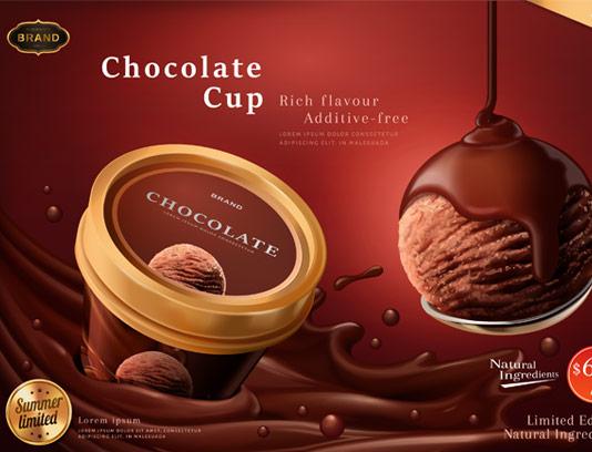 وکتور طرح لایه باز تبلیغاتی بستنی شکلاتی خلاقانه