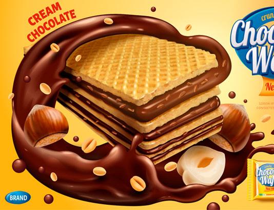 وکتور طرح تبلیغاتی لایه باز ویفر شکلاتی