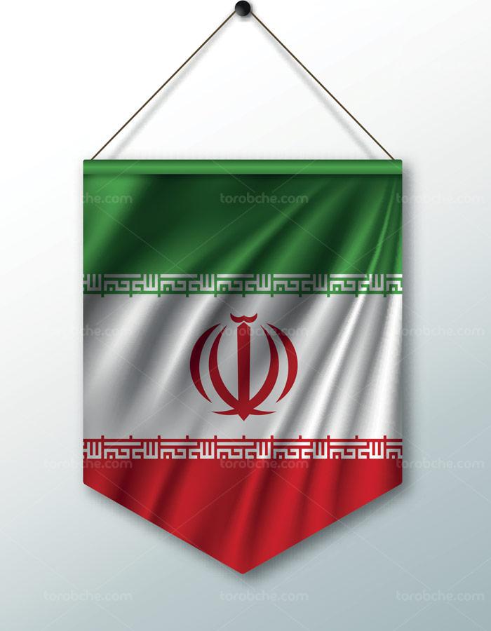 وکتور طرح پرچم ایران به صورت آویز دیواری