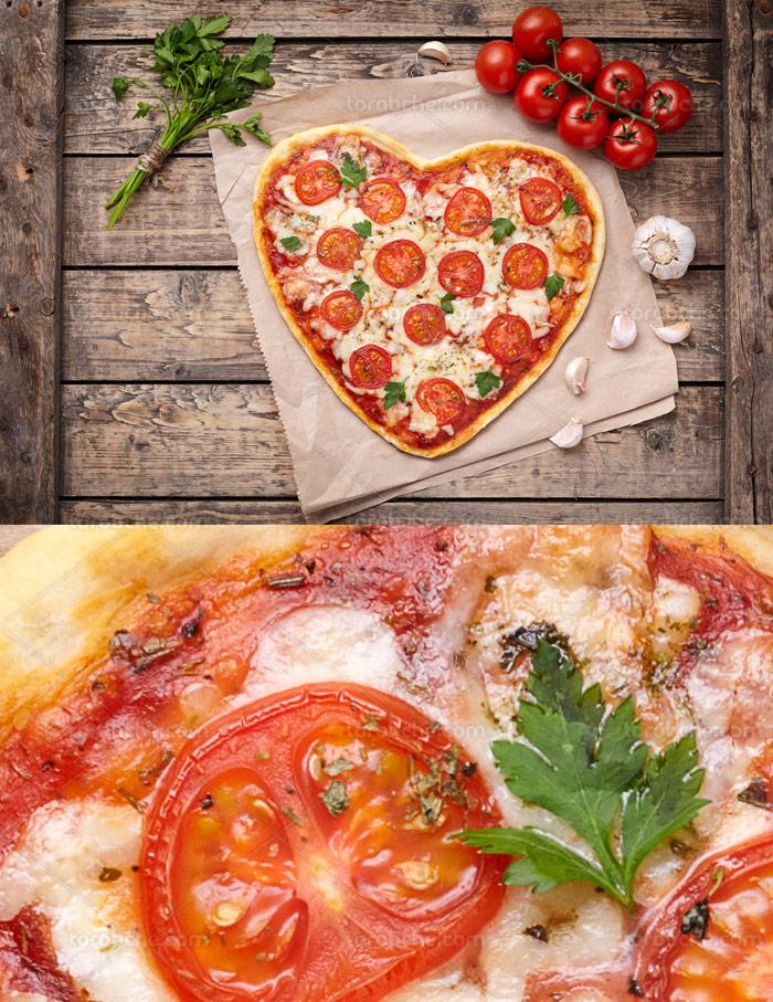 عکس با کیفیت پیتزا ایتالیایی به شکل قلب