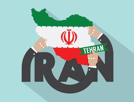 وکتور طرح نقشه با زمینه پرچم ایران و تایپوگرافی IRAN