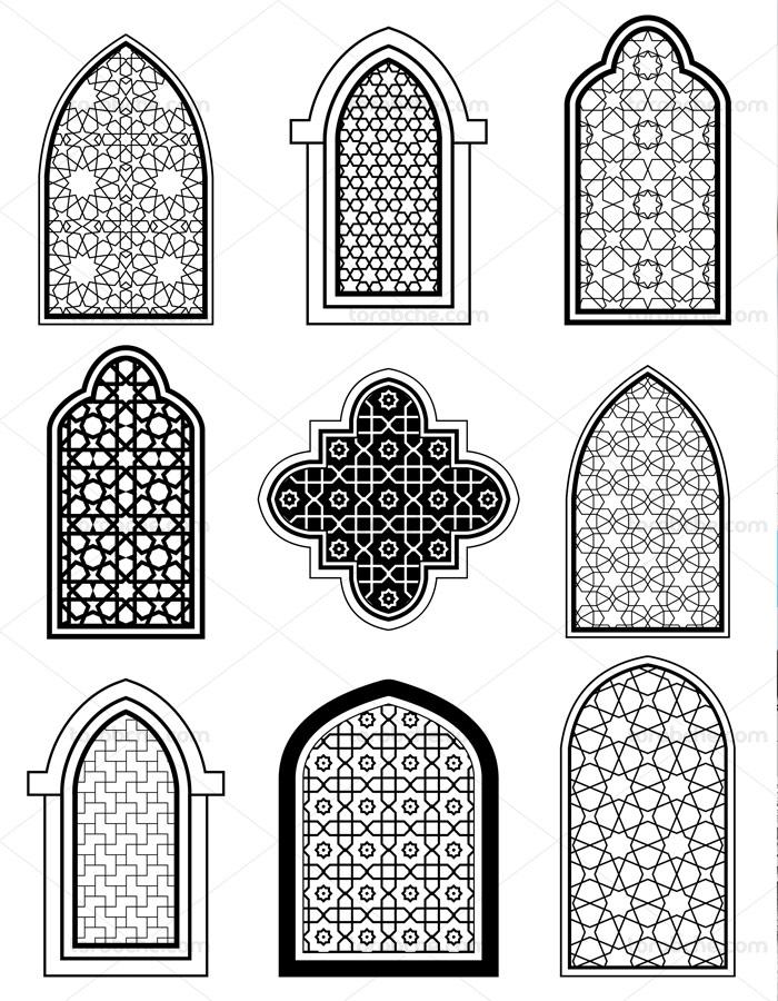 وکتور مجموعه پنجره های معماری اسلامی