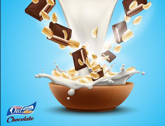 وکتور طرح تبلیغاتی خلاقانه شیر، شکلات و فلکس
