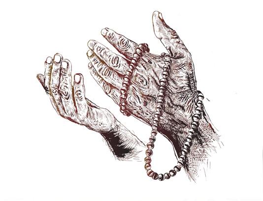 وکتور دستان در حال دعا روبه آسمان با تسبیح