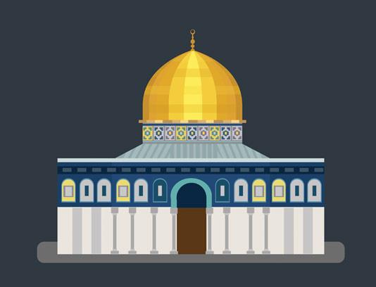 وکتور طرح دو بعدی مسجد قبه الصخره