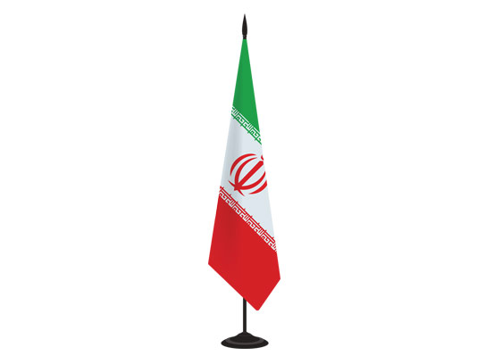وکتور پرچم ایران ایستاده با پایه