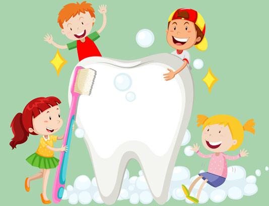 وکتور طرح دندان سالم و مسواک زدن کودکان