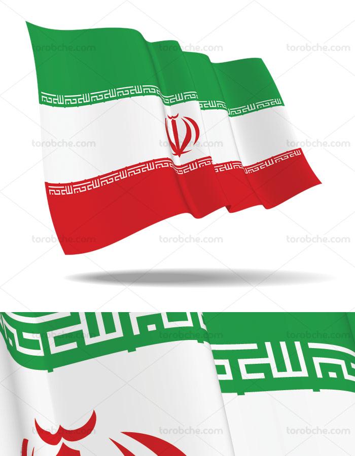 وکتور پرچم ایران موج دار در حال اهتزاز