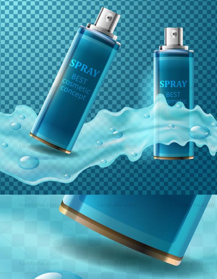 وکتور لایه باز طرح تبلیغاتی اسپری آرایشی و بهداشتی