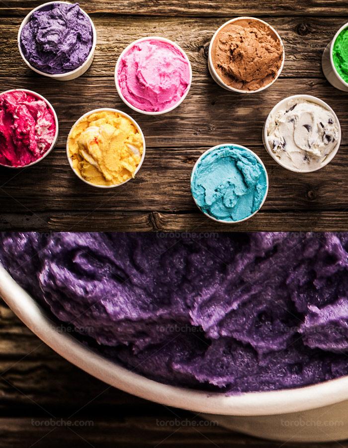 عکس با کیفیت بستنی میوه ای در رنگ و طعم های مختلف