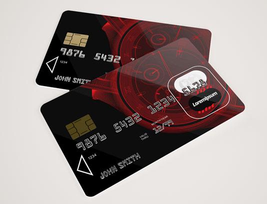 طرح لایه باز موکاپ کارت عابر بانک با کیفیت عالی
