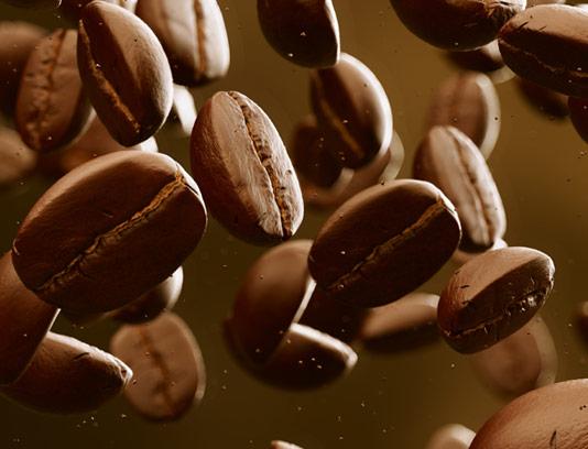 عکس با کیفیت دانه های قهوه معلق