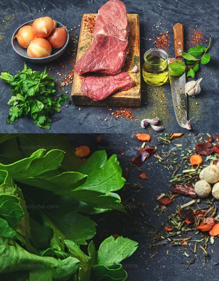 عکس با کیفیت گوشت تازه ، پیاز ، سبزیجات و روغن