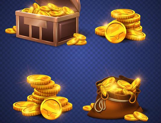 وکتور صندوقچه گنج و سکه های طلا