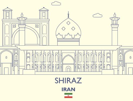 وکتور خطی با کیفیت مکان های دیدنی شیراز
