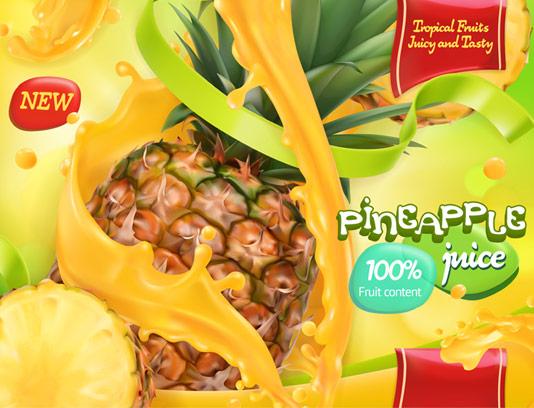 وکتور طرح لایه باز تبلیغاتی آبمیوه آناناس