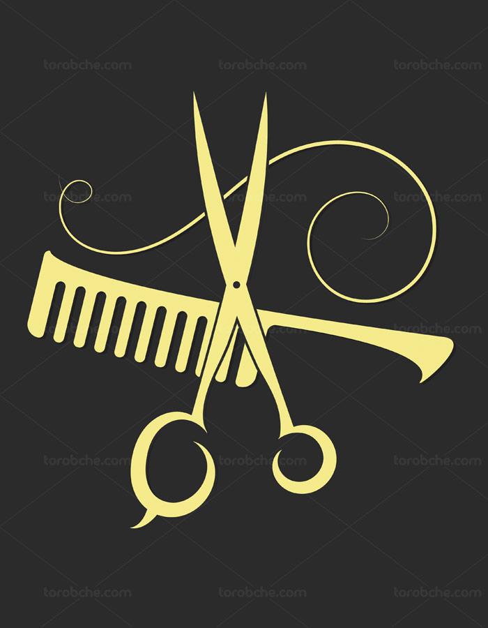 وکتور لوگوی آرایشگاه با المان های قیچی و شانه طلایی