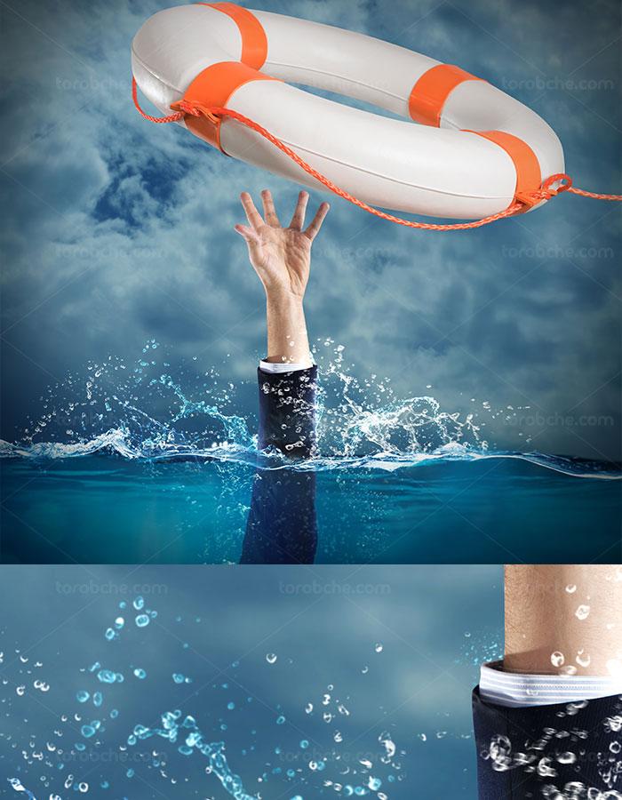 عکس با کیفیت مفهومی نجات مرد از آب