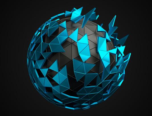 طرح انتزاعی سه بعدی کره ی ژئومتریک آبی