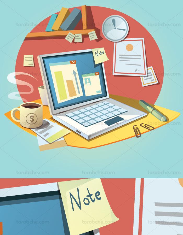 وکتور خلاقانه فلت لپ تاپ و فنجان قهوه