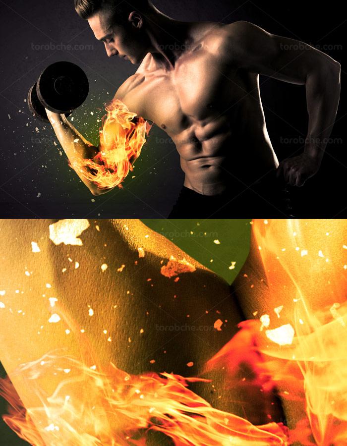 عکس با کیفیت مرد فیتنس در حال تمرین جلو بازو