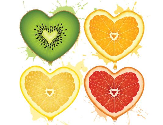 وکتور طرح میوه با کیفیت انتزاعی به صورت قلب