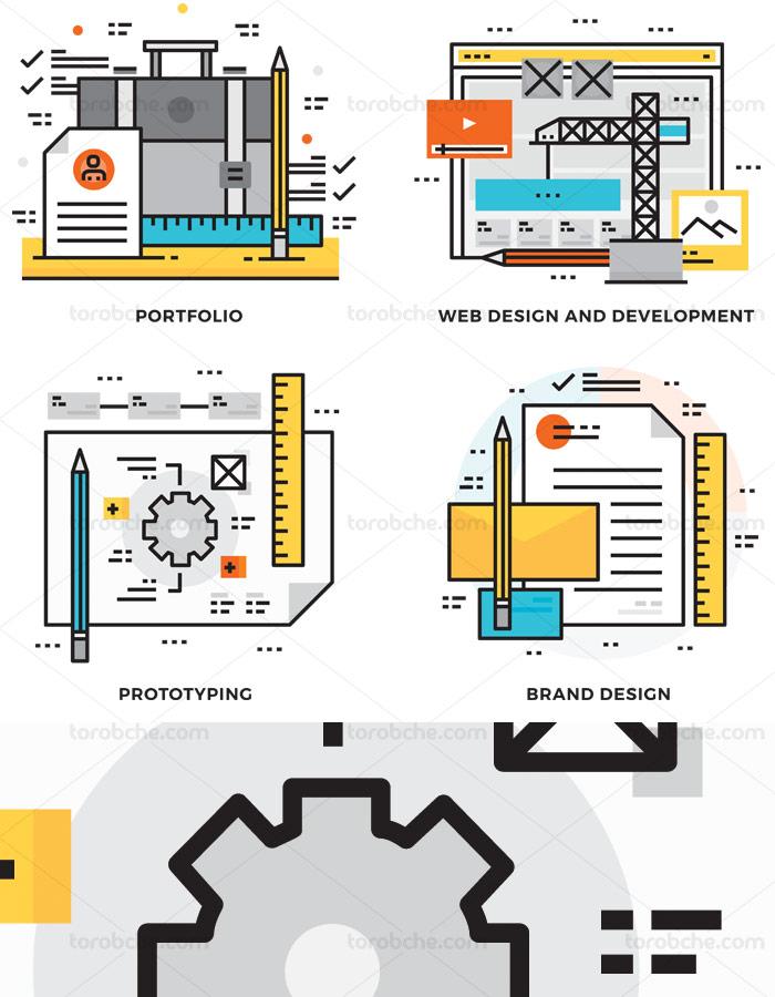 وکتور آیکون های مفهومی و مینیمال طراحی سایت