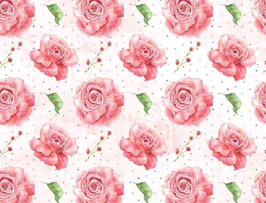 طرح پترن گل های رز صورتی آبرنگی