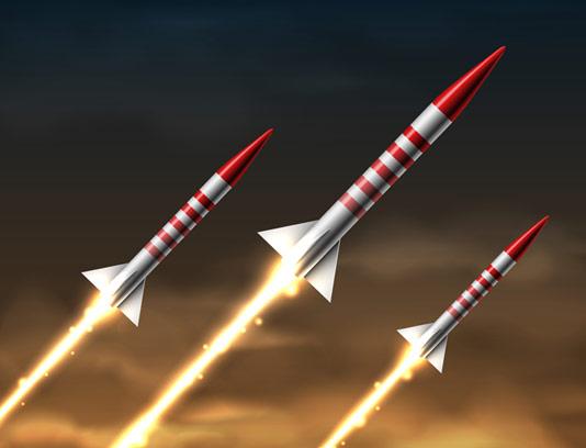 وکتور طرح راکت و موشک در حال شلیک