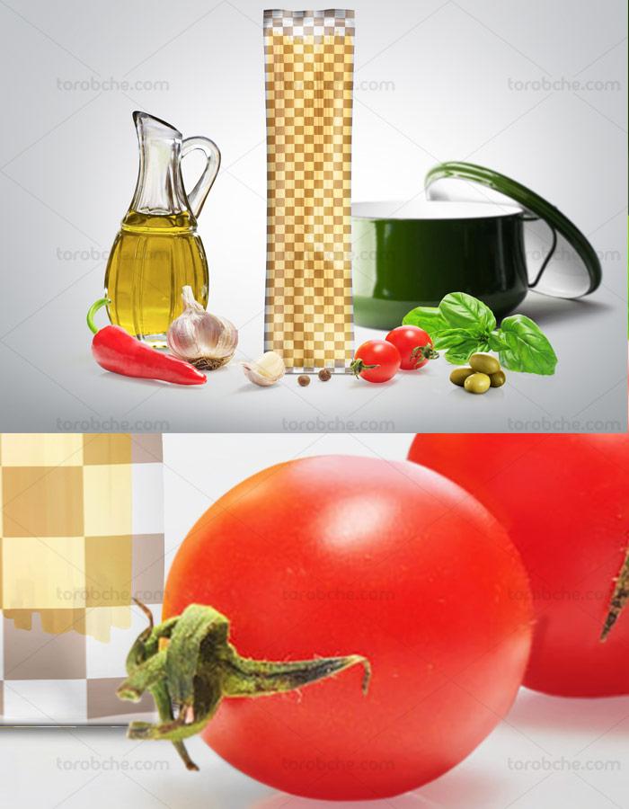 طرح لایه باز موکاپ بسته بندی اسپاگتی شماره ۰۲