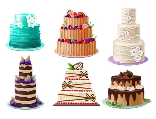 وکتور کیک های فانتزی طبقه ای تولد و عروسی