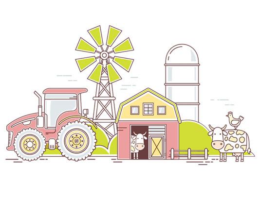 وکتور تراکتور مزرعه و دامداری