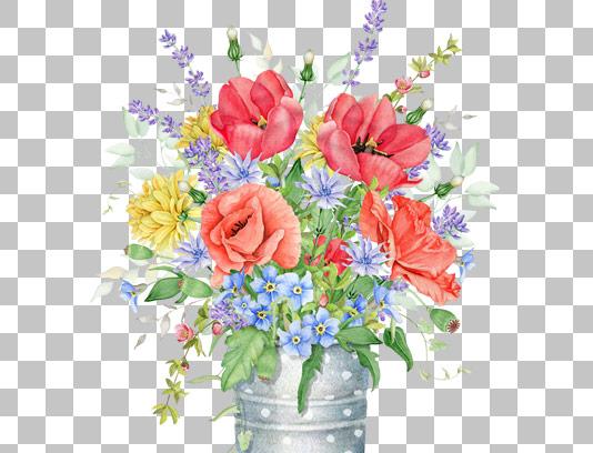عکس دوربری شده گدان فلزی با گل های رنگی