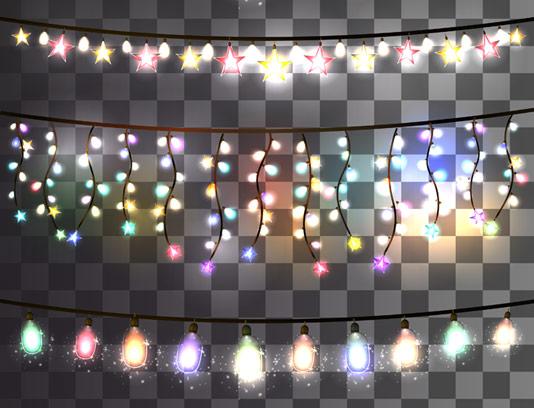 وکتور طرح چراغ های تزئینی رنگارنگ بدون پس زمینه