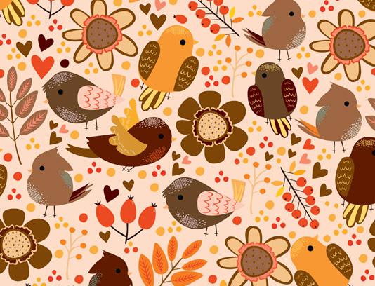 وکتور پترن پاییزی پرندگان و برگ های پاییزی