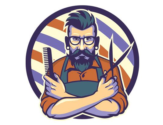 وکتور لوگوی تصویری آرایشگاه مردانه
