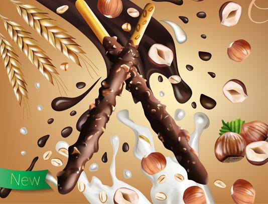 وکتور طرح تبلیغاتی بیسکوئیت استیکی با شکلات فندقی