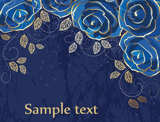 وکتور بکگراند گلهای رز آبی و طلایی