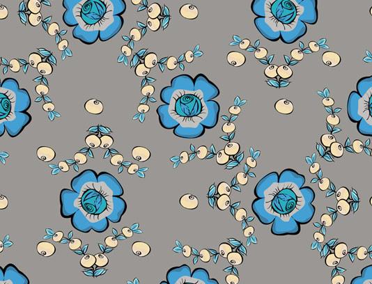 وکتور طرح پترن گل های آبی