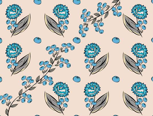 وکتور طرح پترن گل و میوه های آبی رنگ