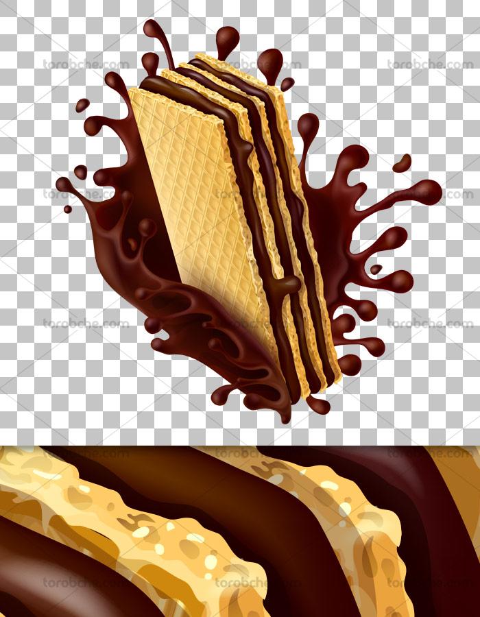 عکس دوربری شده ویفر شکلاتی با اسپلش شکلات