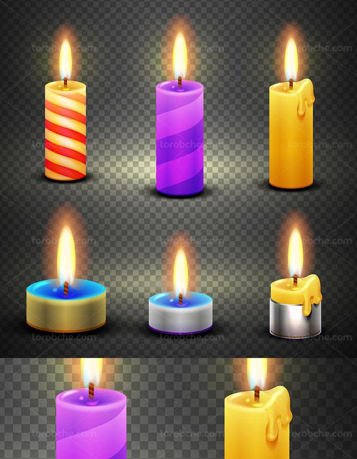 وکتور بدون پس زمینه شمع روشن در چند رنگ مختلف
