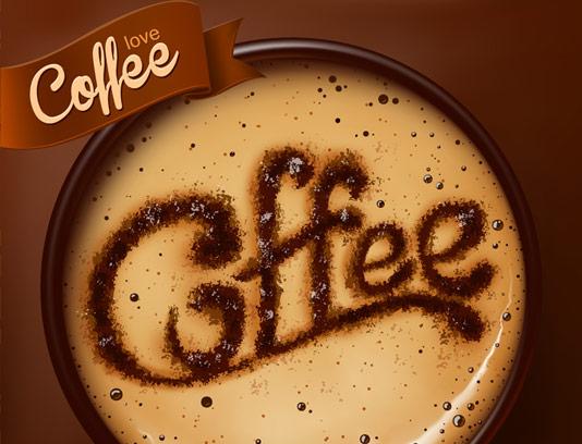 وکتور طرح فنجان قهوه با تایپوگرافی Coffee