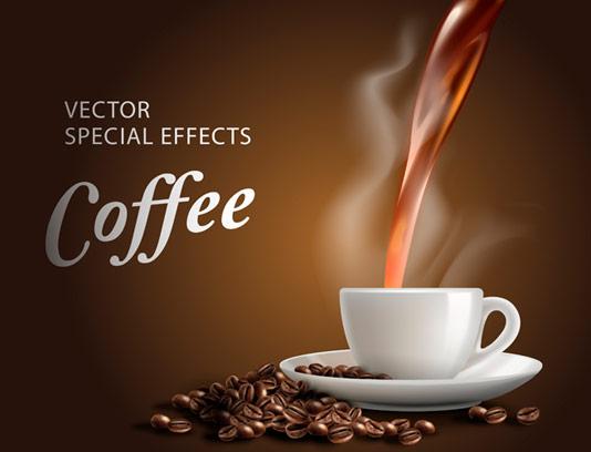 وکتور طرح فنجان قهوه داغ با دانه های قهوه