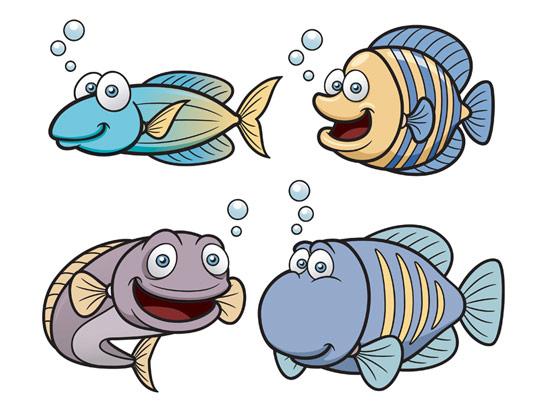 وکتور طرح ماهی های تزئینی
