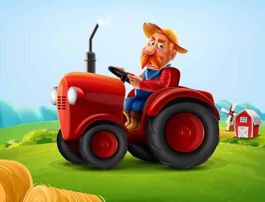 وکتور طرح با کیفیت مرد کشاورز و تراکتور