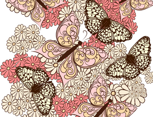 وکتور پس زمینه و بکگراند گل و پروانه