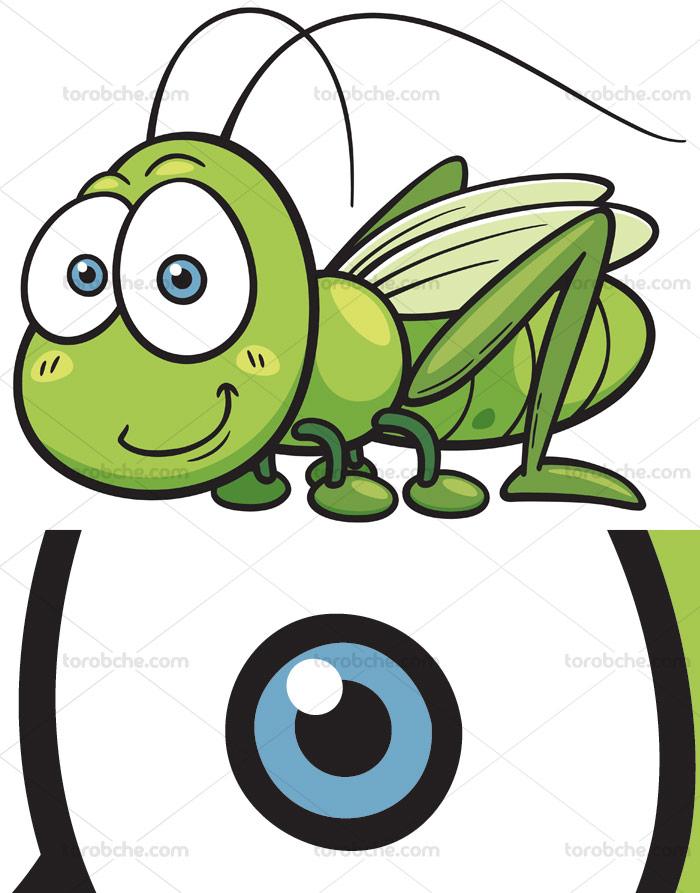 وکتور با کیفیت طرح ملخ سبز کارتونی