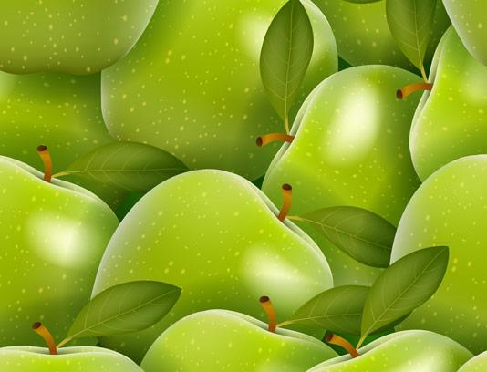 وکتور پترن میوه ای سیب سبز تازه